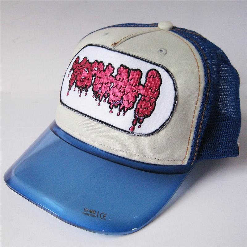 Front view of Yeahh Cap (Hot Pink on Blue)