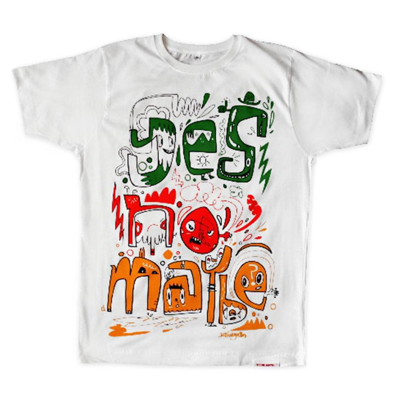 Front view of Burgerman Men's T-Shirt (Red Green Orange on White)