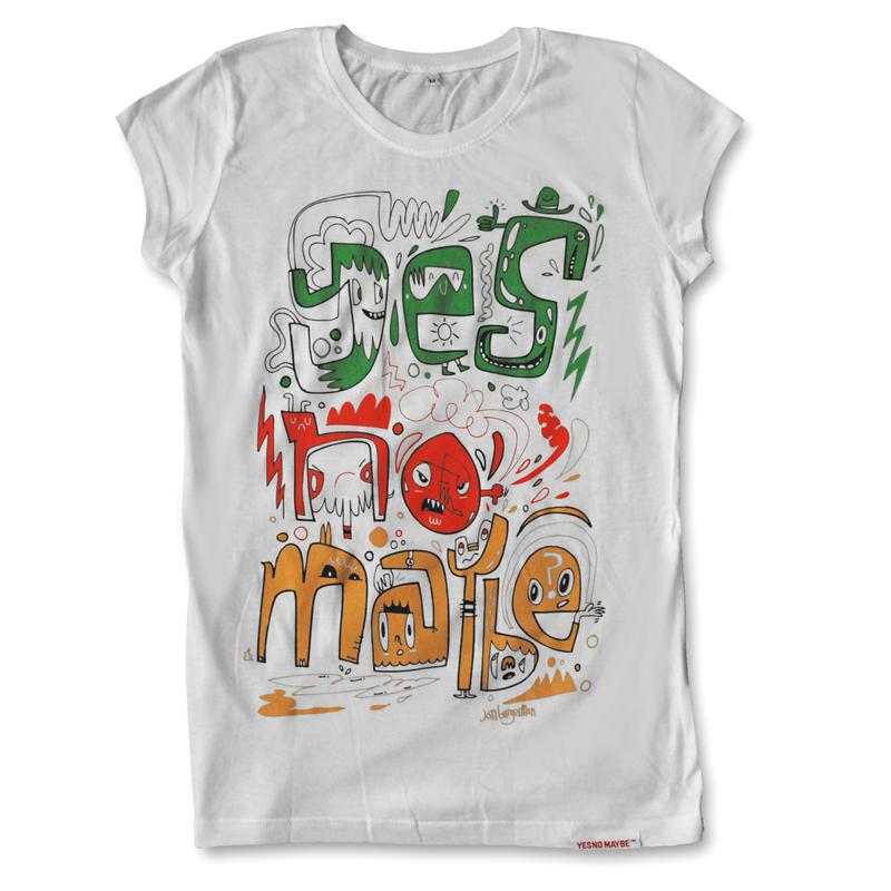 Front view of Burgerman Women's Raw Cut T (Red Green Orange on White)