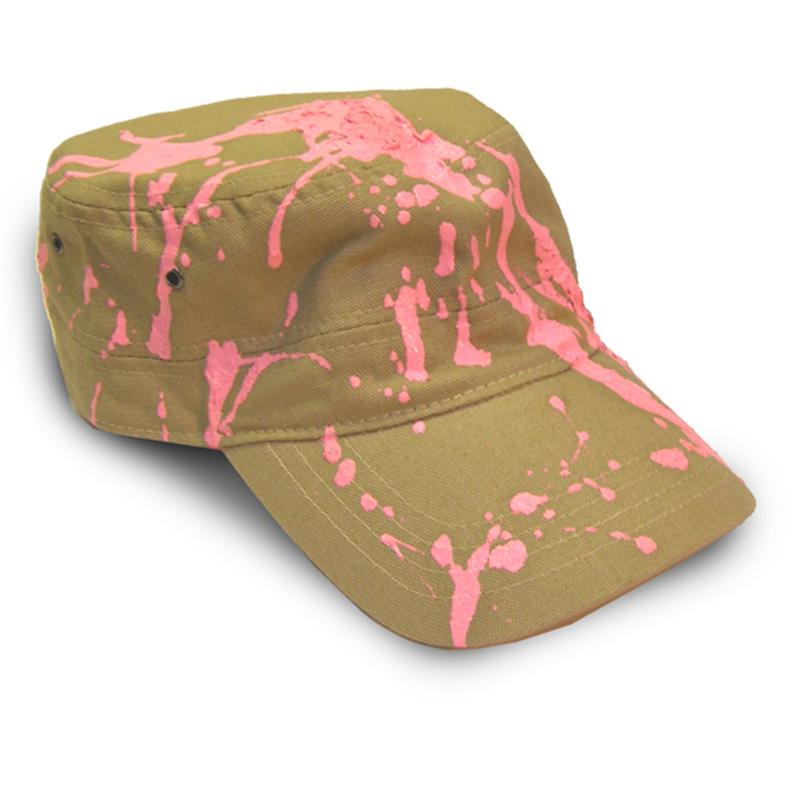 Front view of Candysplat Cap (Hot Pink on Camel)