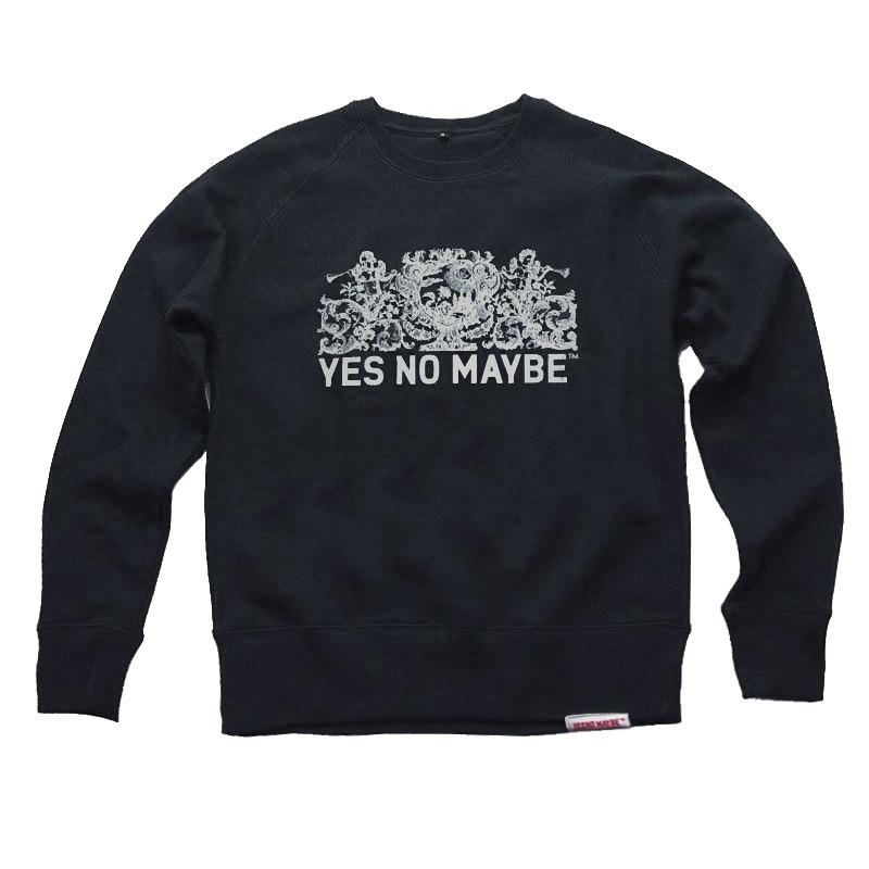 Front view of Crests Men's Crew Sweat (White on Black)