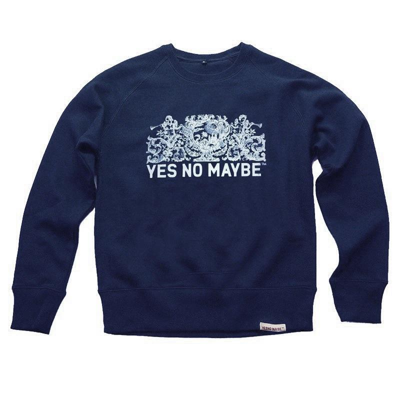 Front view of Crests Men's Crew Sweat (White on Navy)