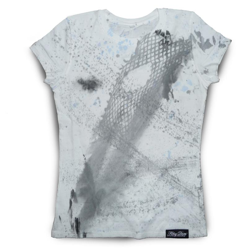 Front view of FilthyDirty Women's T-Shirt (Grey on White)
