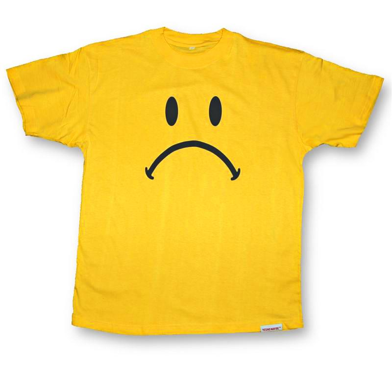 Front view of Frowny Men's T-Shirt (Black on Yellow)