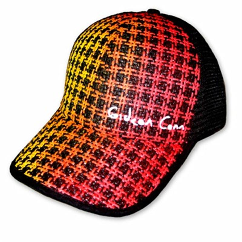 Front view of Gideon Conn Cap (Yellow on Red)