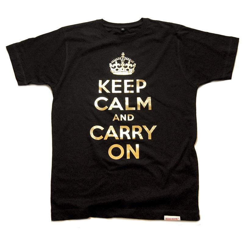Front view of Keep Calm and Carry On Men's T-Shirt (Gold on Black)