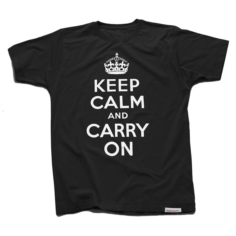 Front view of Keep Calm and Carry On Men's T-Shirt (White on Black)