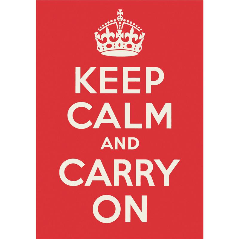 Front view of Keep Calm and Carry On Poster (White on Red)