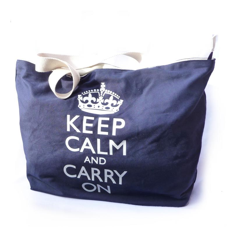 Front view of Keep Calm and Carry On Shopper Bag (White on Blue)