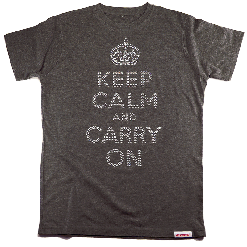 Front view of Keep Calm and Carry On Women's Fitted T (Silver on Grey)