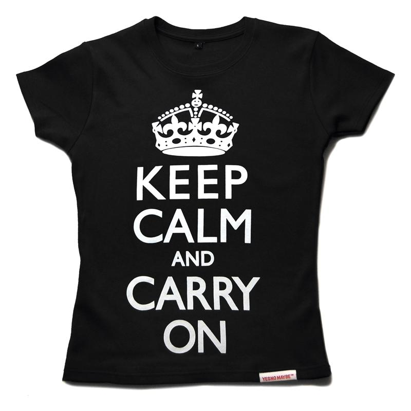 Front view of Keep Calm and Carry On Women's Fitted T (White on Black)