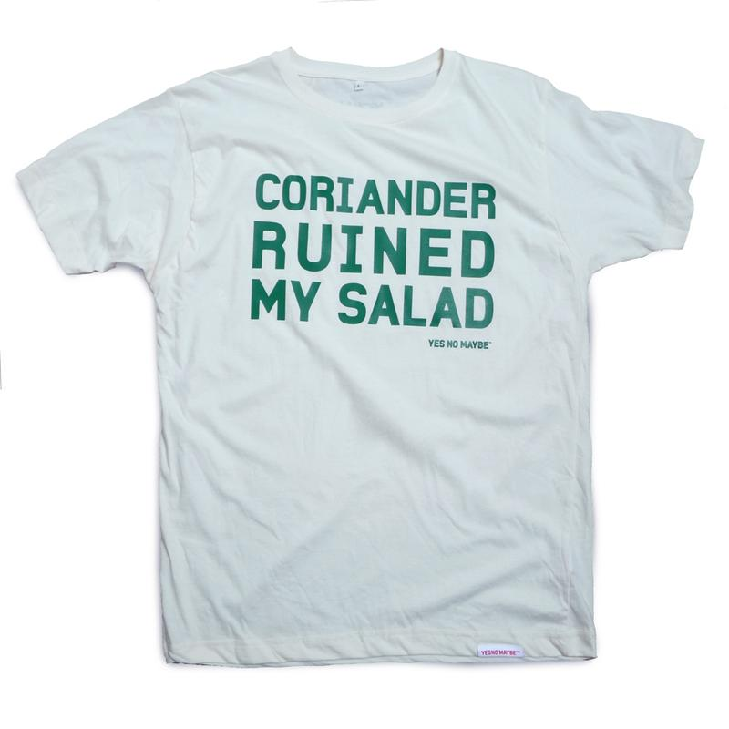 Front view of Coriander Ruined My Salad Men's T-Shirt (Green on White)