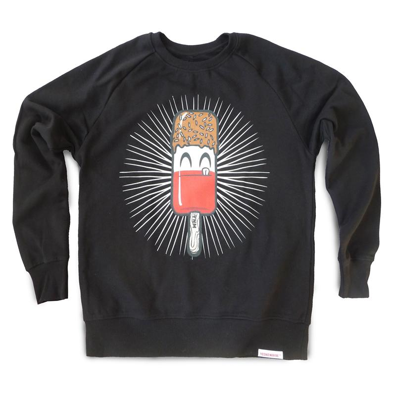 Front view of Fab Men's Crew Sweat (Red on Black)