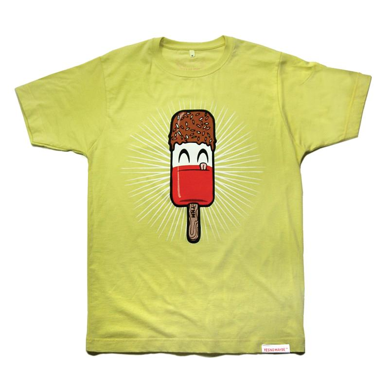 Front view of Fab Men's T-Shirt (Red on Lemon)