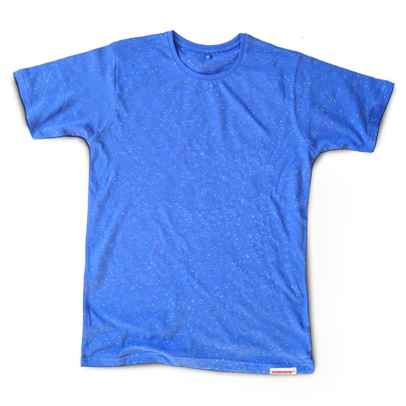 Front view of Fleck Men's T-Shirt (Multicolour on Blue)