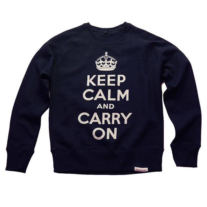 Front view of Keep Calm and Carry On Men's Crew Sweat (White on Navy)