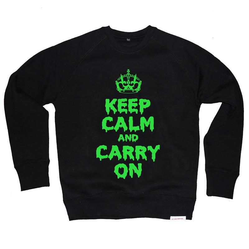 Front view of Keep Calm and Carry On Halloween edition  Men's Crew Sweat (Green on Black)