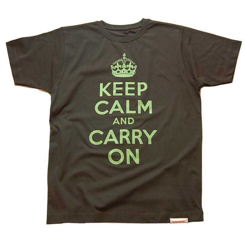 Front view of Keep Calm and Carry On Men's T-Shirt (Duck Egg Green on Charcoal)