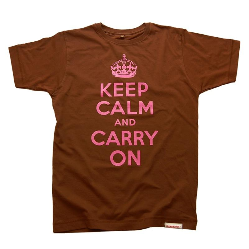 Front view of Keep Calm and Carry On Men's T-Shirt (Pink on Brown)