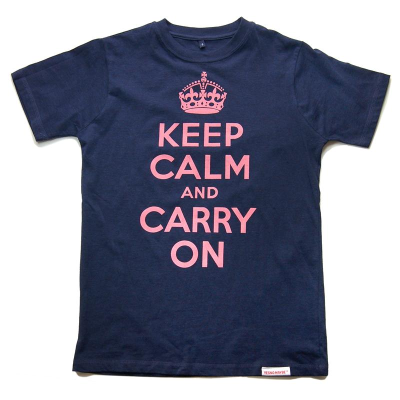 Front view of Keep Calm and Carry On Men's T-Shirt (Pink on Dark Denim)
