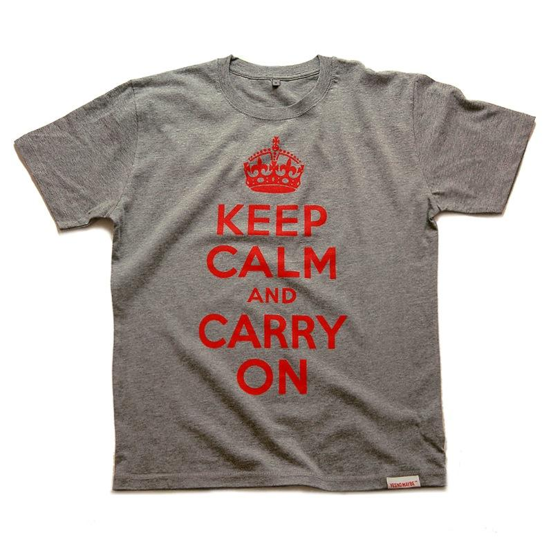 Front view of Keep Calm and Carry On Men's T-Shirt (Red on Heather Grey)