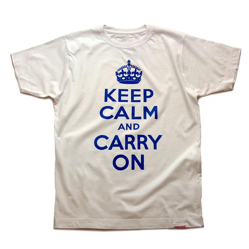Front view of Keep Calm and Carry On Men's T-Shirt (Royal Blue on White)