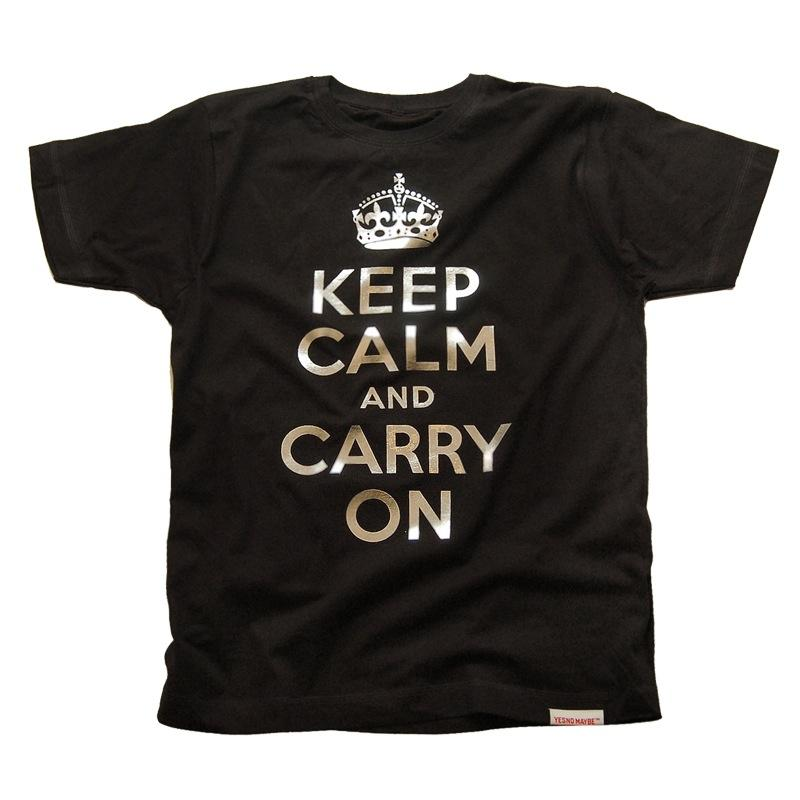 Front view of Keep Calm and Carry On Men's T-Shirt (Silver on Black)