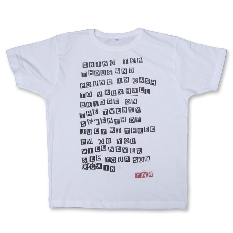 Front view of Ransom Men's T-Shirt (Black on White)