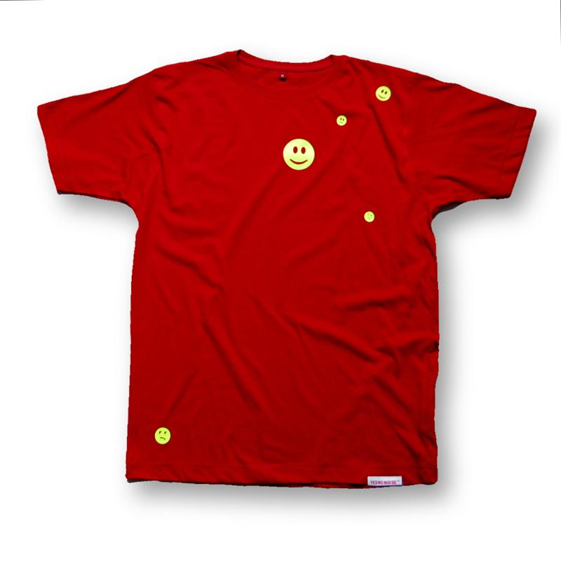 Front view of Ravemoticons Men's T-Shirt (Yellow on Red)