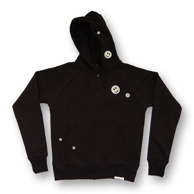 Front view of Ravemoticons Men's Zip-Thru Hood (Hi Vis Reflective on Black)