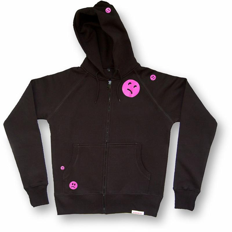 Front view of Ravemoticons Men's Zip-Thru Hood (Hot Pink on Black)