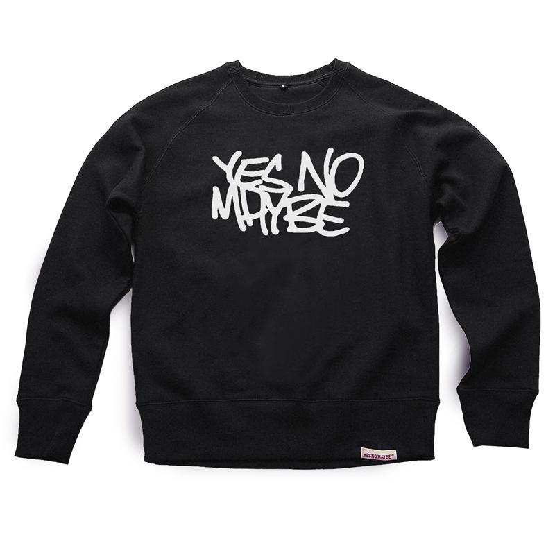 Front view of Scrawl Men's Crew Sweat (White on Black)
