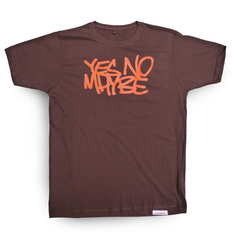 Front view of Scrawl Men's T-Shirt (Orange on Brown)
