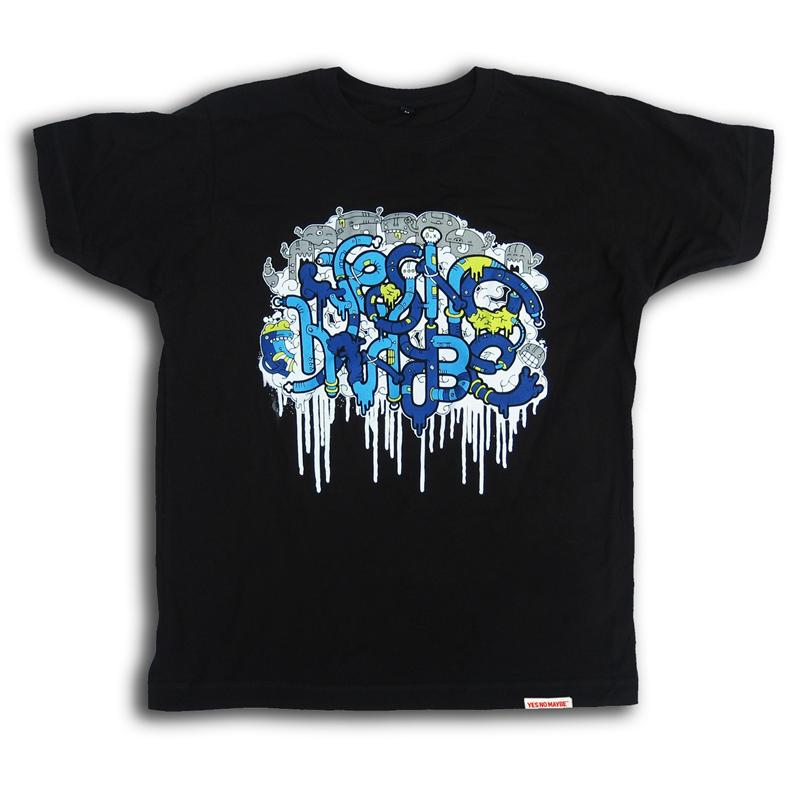 Front view of addfueltothefire Men's T-Shirt (Blue on Black)