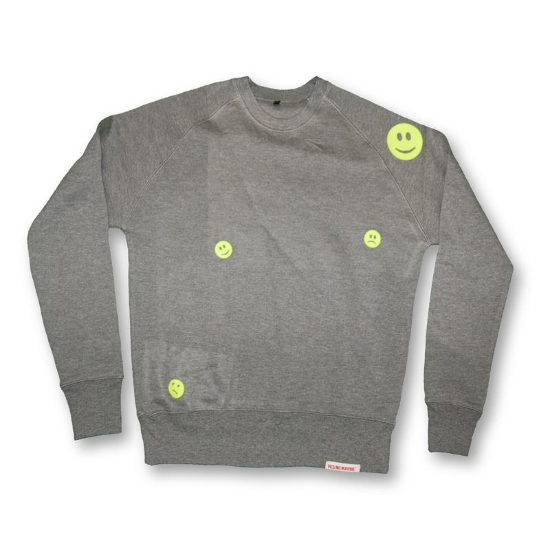 Front view of Ravemoticons Men's Crew Sweat (Yellow on Sport Grey)