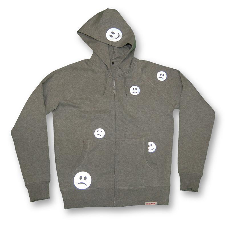 Front view of Ravemoticons Men's Zip-Thru Hood (Hi Vis Reflective on Sport Grey)