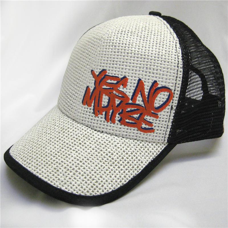 Front view of Scrawl Cap (Orange on Off White)
