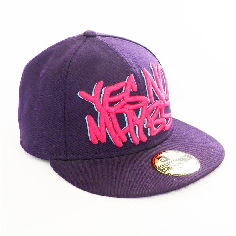 Front view of Scrawl New Era 59FIFTY Baseball Cap (Pink on Purple)