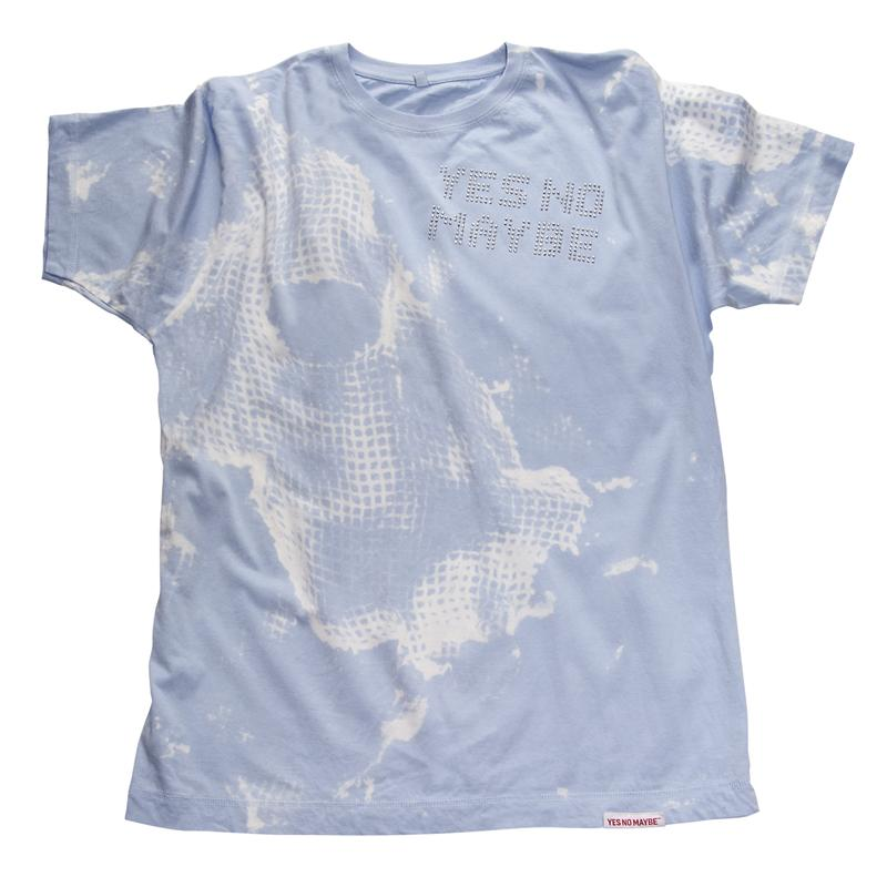 Front view of StreetGlam Men's T-Shirt (White on Baby Blue)