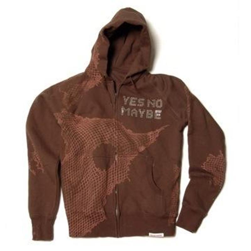 Front view of StreetGlam Men's Zip-Thru Hood (Tan on Brown)
