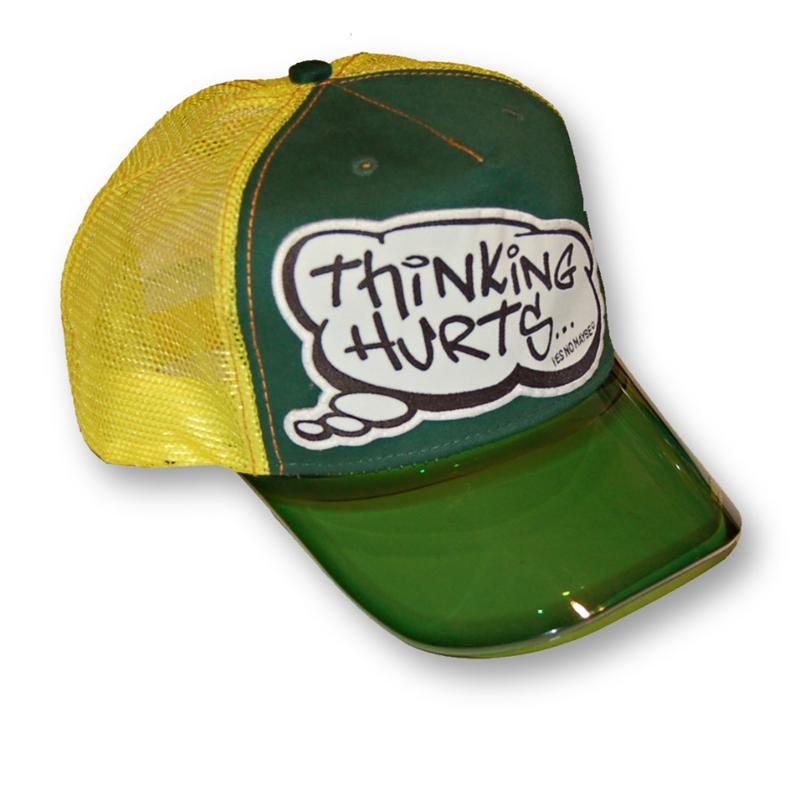 Front view of Thinking Hurts Cap (Black on Green)