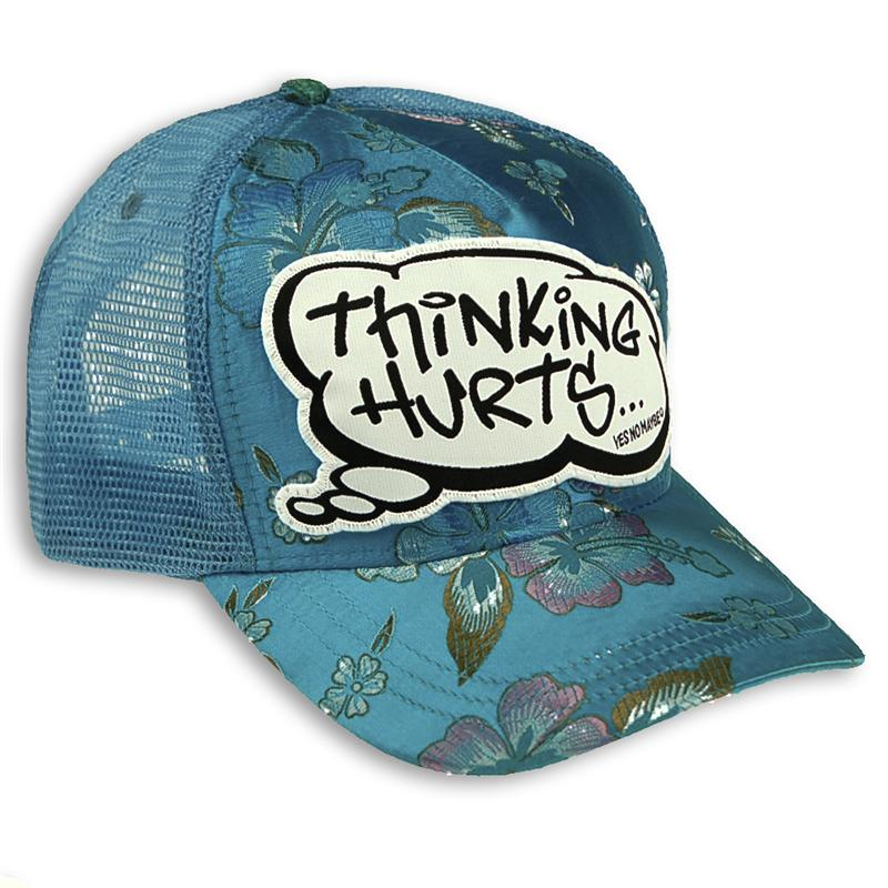 Front view of Thinking Hurts Cap (Multicolour on Baby Blue)