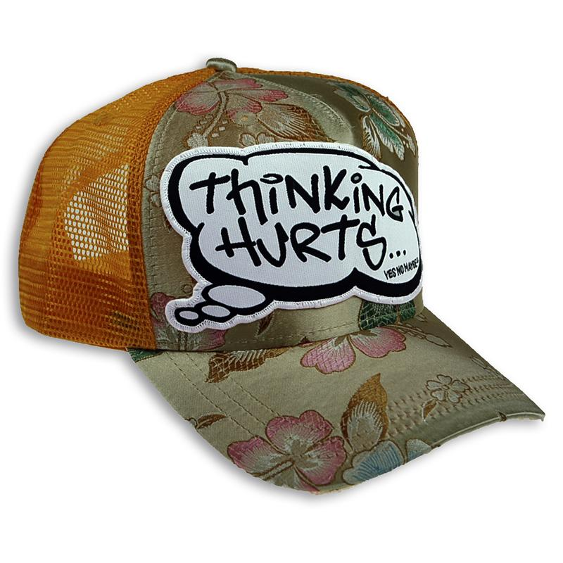 Front view of Thinking Hurts Cap (Multicolour on Yellow)