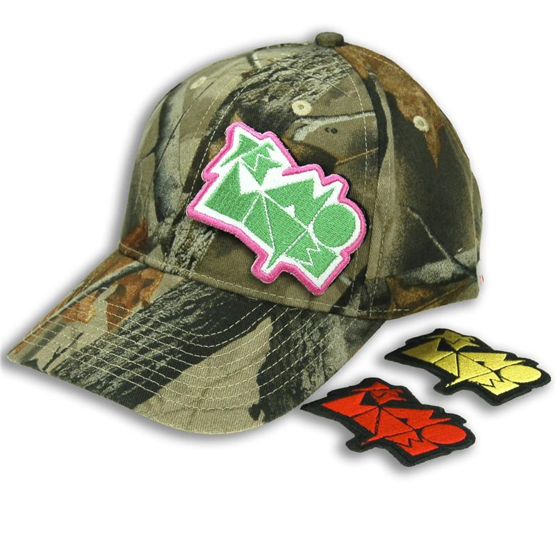 Front view of Hook and Loop Rocker Patch Cap (Multicolour on Realtree Camo)