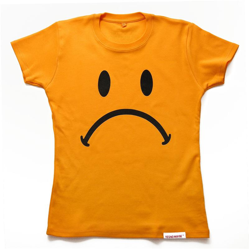 Front view of Frowny Women's T-Shirt (Black on Yellow)