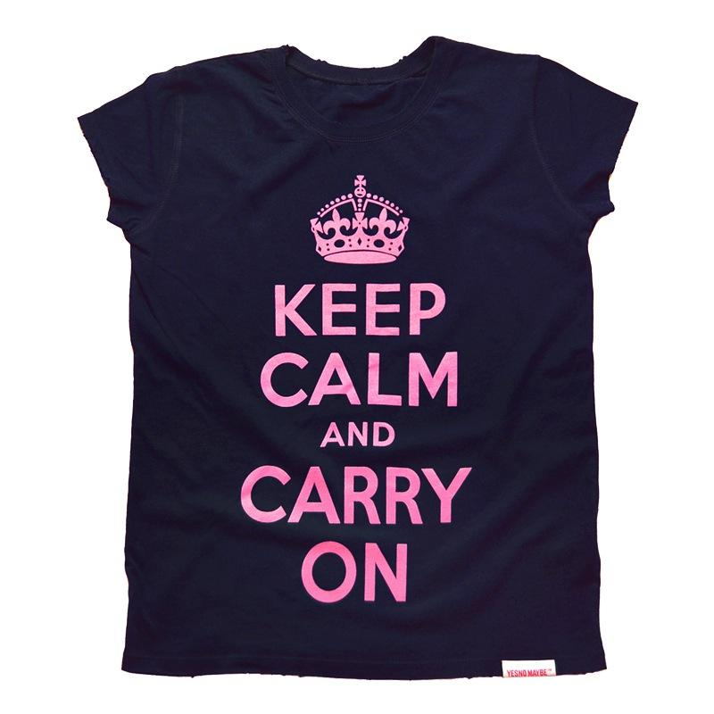 Front view of Keep Calm and Carry On Women's Raw Cut T (Pink on Navy)
