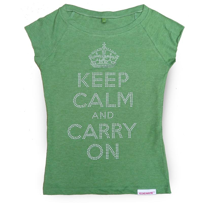 Front view of Keep Calm and Carry On Women's T-Shirt (Silver on Green)