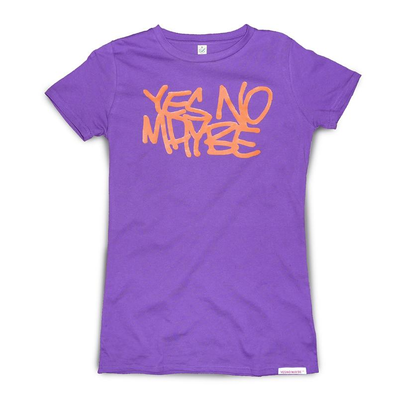 Front view of Scrawl Women's T-Shirt (Orange on Purple)