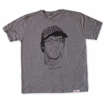 Front view of Gideon Conn Men's T-Shirt (Black on Heather Grey)
