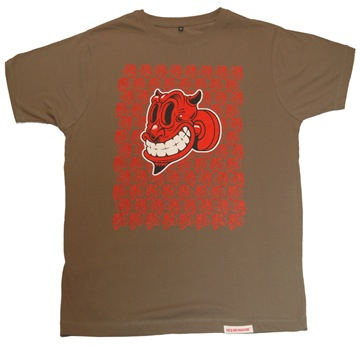 Front view of Devil Men's T-Shirt (Red on Olive)